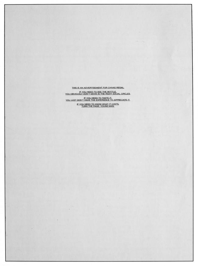 """Chivas Regal Anzeige von Neil French: """"Selten wurde eine Markenhaltung so klar und präzise herausgearbeitet"""", meint Stephan Vogel"""