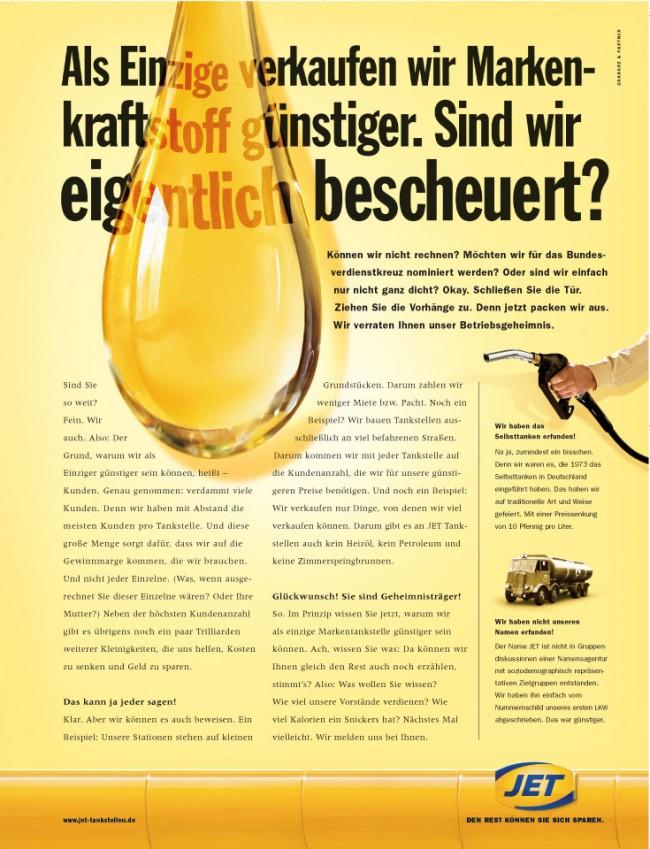 Ralf Heuel mag die Longcopy-Kampagne von Grabarz & Partner für Jet