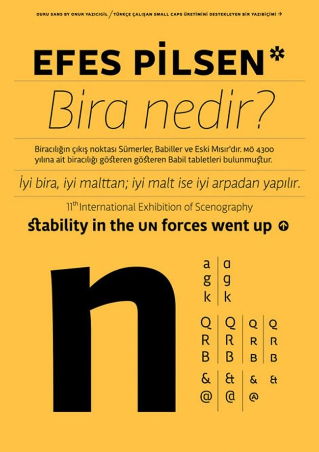 Schriftmuster des multilingualen Fontprojekts Duru Sans