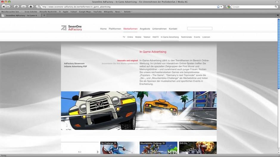 Beste Website eines Medien- bzw. Kommunikationsunternehmens: P7S1 TV Deutschland CS, www.sevenone-adfactory.de