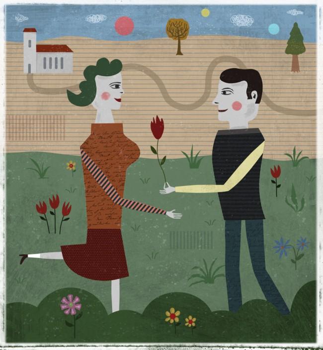 Illustration zum Thema Partnerschaft für das Polnische Magazin Klakson