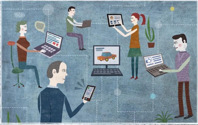 Eine Illustration zum Thema Netzwerke für ein Heft des Stifterverbandes, Auftragsgeber  Seitenplan