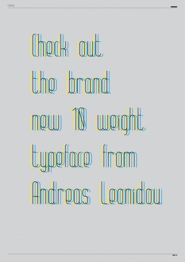 Konstruktion und Ornament bestimmen die Form der Schriften von Andreas Leonidou. Hier und im nächsten Bild die Lautus