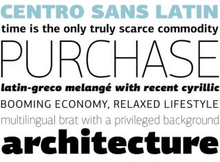 Zeitgemäße und erfolgreiche Fonts von Panos Vassiliou und seiner Typefoundry Parachute – hier Centro