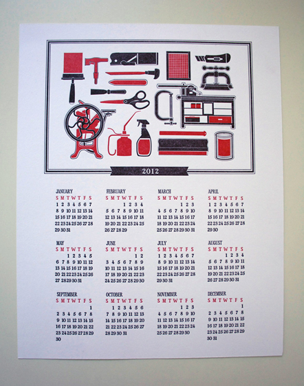 Bild Letterpress Kalender 2012