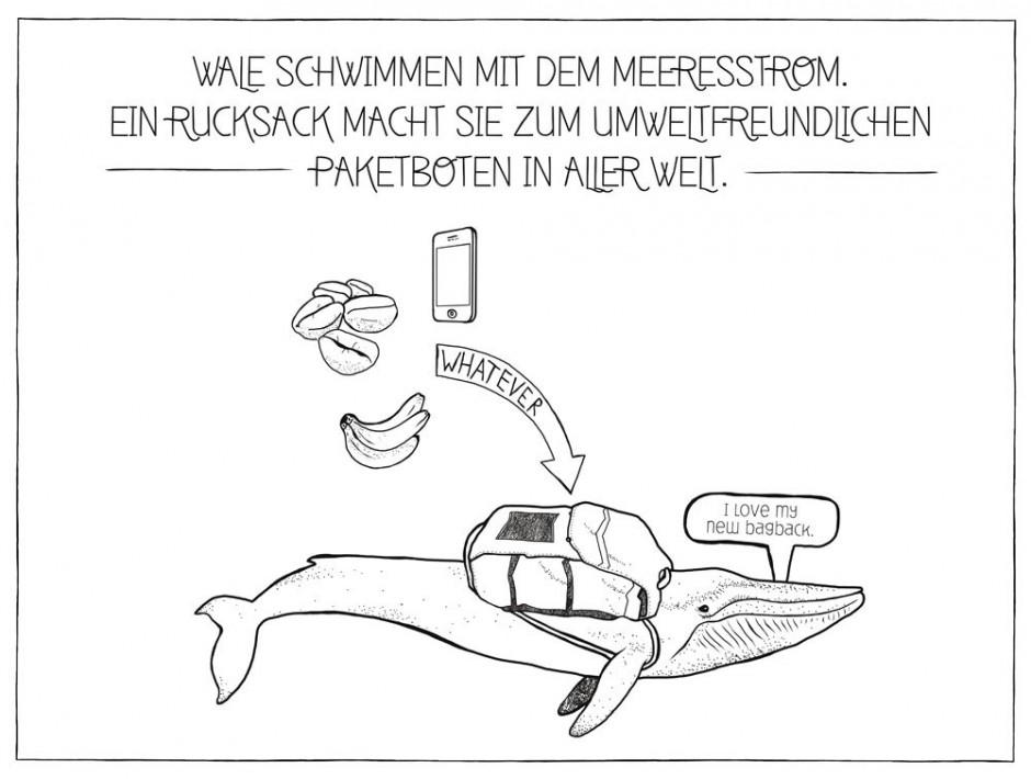 Warenversand: Warum Wale nicht für den Warenverkehr nutzen, fragten sich Thimon Machatzke, Christian Baur, Jan Sieche, Frederik Struck und Simon Schulz vom IN.D Hamburg. Betreuende Dozentin war Ulrike Krämer.