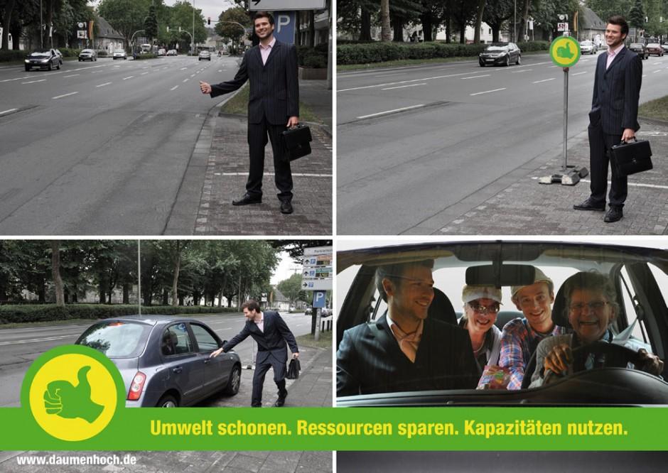 Daumen-hoch: Eine Kampagne für Fahrgemeinschaften haben Teresa Preising und Christine Reckmann von der Hochschule Ostwestfalen-Lippe entwickelt. Betreuende Professoren waren Martin Ludwig Hofmann und Andreas K. Vetter.