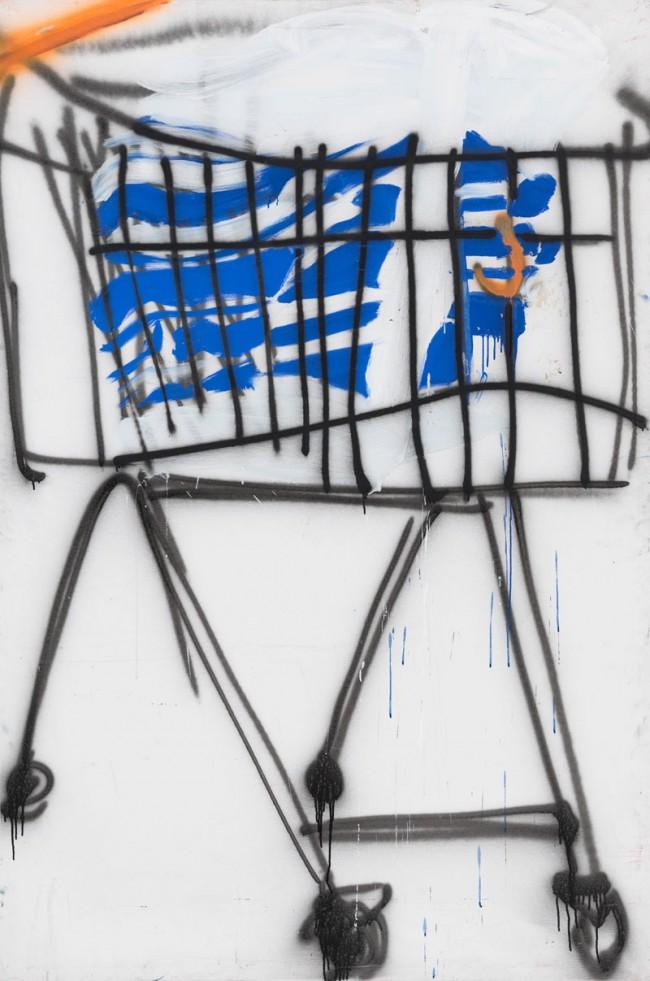 Tatjana Doll, Trolley, 1998, Acryl, Lack auf Leinwand, 240cm x 155cm, courtesy Galerie Gebrüder Lehmann, Dresden/Berlin, Foto: Bernd Borchardt