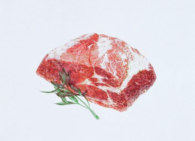 Francisco Sierra, Fleisch. Serie von 11 Bildern, 2004/2005, Farbstift auf Papier, jeweils 50cm x 70cm, Fotos: Dominique Uldry