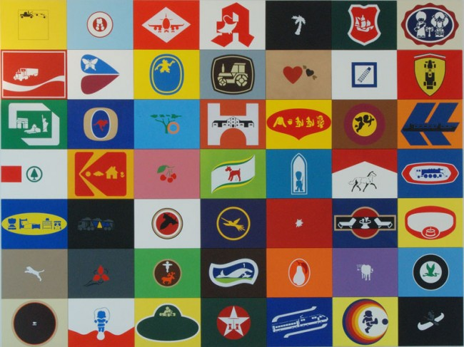 Konstantin Voit, DIE MALFABRIK, BLOCK 7 (Werbeblock XXL): Bilder 1 - 61 , 2005-2011, Sprayfarbe auf Leinwand, jeweils 60cm x 80cm, Im Besitz des Künstlers, Foto: Konstantin Voit