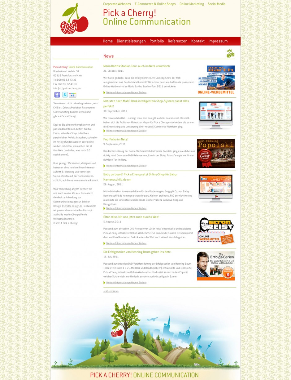Pick a Cherry - official website | verwendete Schrift: ITC Conduit