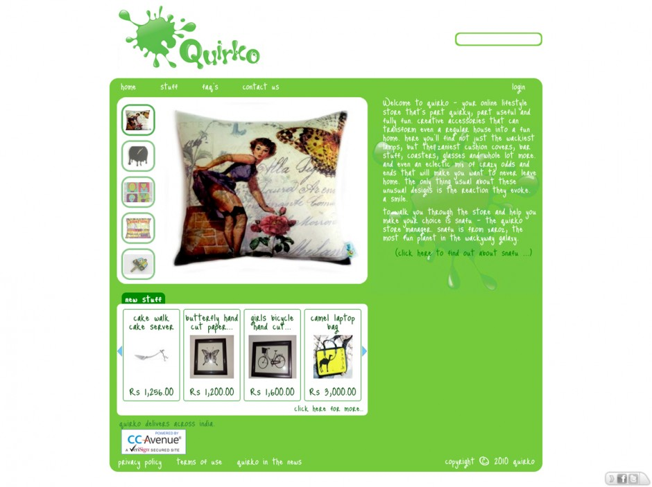 Quirkoshop.com | Online E-Commerce Store for Fun Home Accessories for India | verwendete Schriften: Just Me Again Down Here