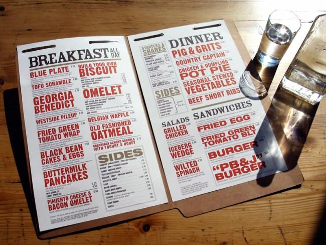 West Egg Café, Atlanta: Speisekarten-Design von Lightdaughter