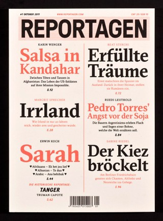 »Cover of Reportagen Issue #1 and #2«, 2011, Medium: Magazine, 165 x 230 mm, Kunde: Reportagen