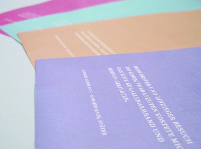 Briefpapier: Geschäftsausstattung, entstanden im Rahmen eines Seminars zum Thema »Ich-Verlag«