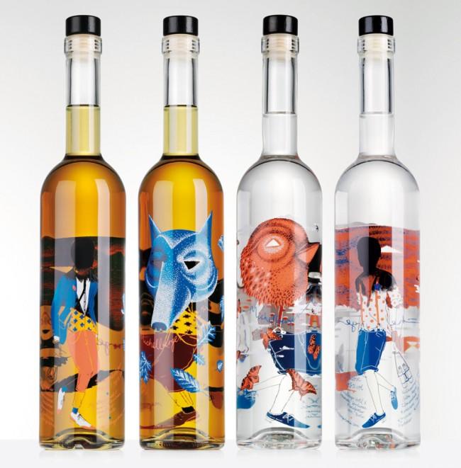Das Flaschen-Design der beiden Schnäpse