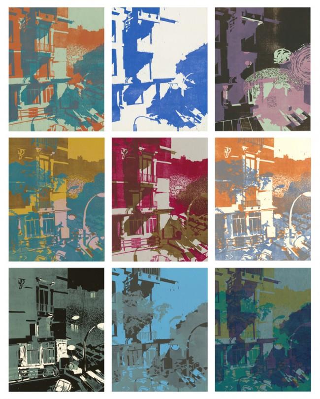 Aus einer Serie von über 70 Farbholzschnittvariationen, entstanden durch Übereinanderdrucken von insgesamt 7 Druckplatten in unterschiedlichen Kombinationen und Farben.Verlag »Bibliothek der Provinz«)