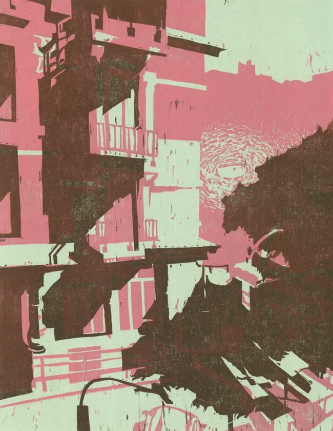Aus einer Serie von über 70 Farbholzschnittvariationen, entstanden durch Übereinanderdrucken von insgesamt 7 Druckplatten in unterschiedlichen Kombinationen und Farben.
