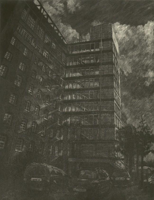 Mezzotinto-Radierung aus dem Künstlerbuch »Stadtansichten Hamburg«