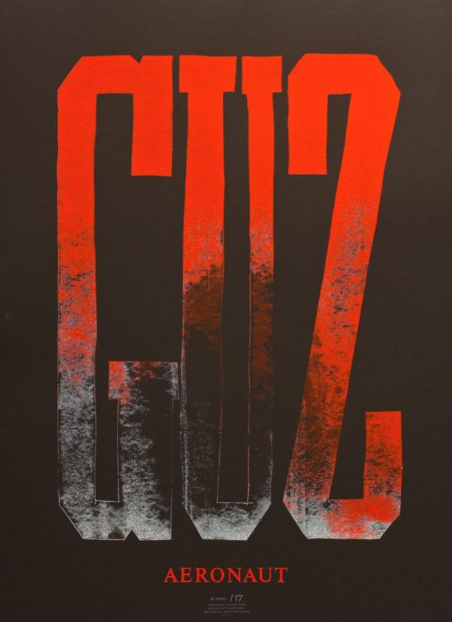 Dafi Kühne, Guz, aus einer Plakatserie für SF-Musicnight, 2011, Buchdruck mit Karton und Bleisatz