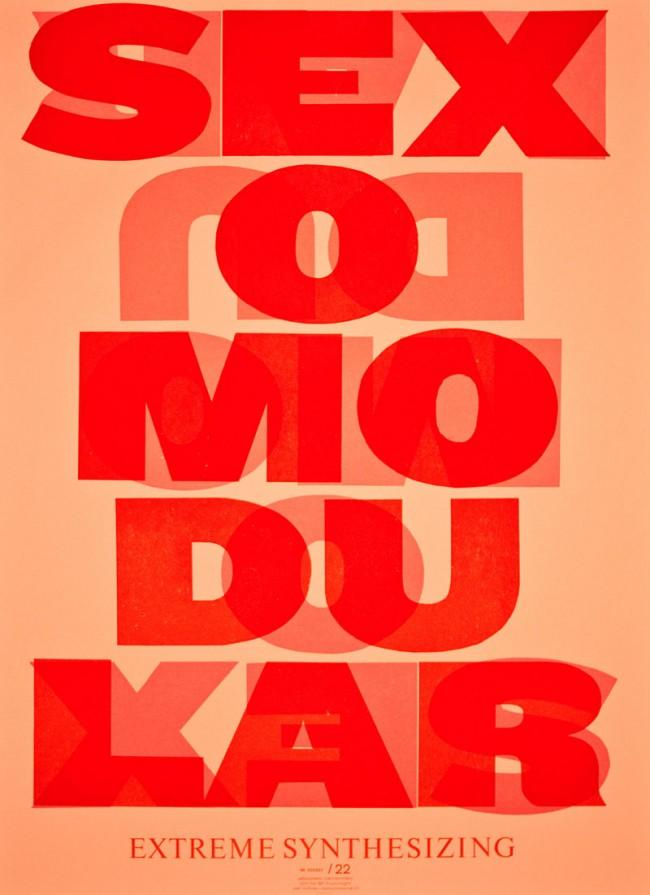 Dafi Kühne, Sexomodular, aus einer Plakatserie für SF-Musicnight, 2011, Buchdruck mit Karton und Bleisatz