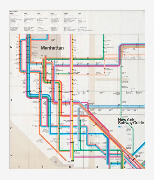 Massimo Vignelli, New York Subway Guide, Fahrplan, 1972, Museum für Gestaltung Zürich, Grafiksammlung, Foto: Umberto Romito