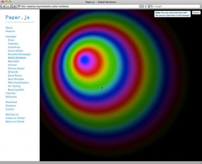 Paper.js, an open source vector graphics scripting framework that runs on top of the HTML5 Canvas.
