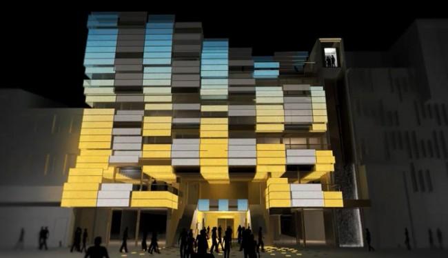Beleuchtungsbeispiel Medienfassade: Core Visual