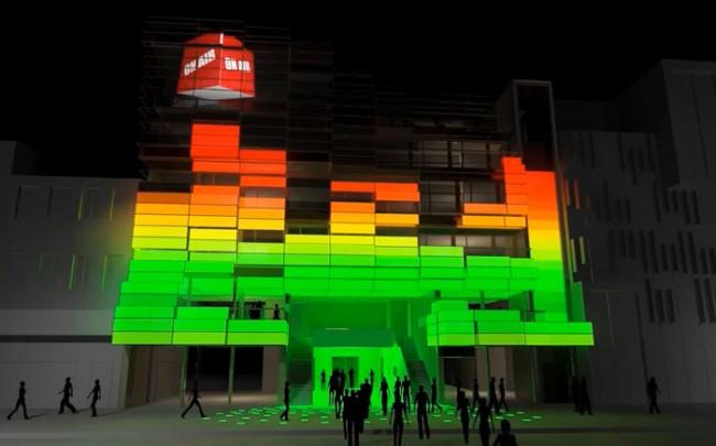 Beleuchtungsbeispiel Medienfassade: Eigenwerbung