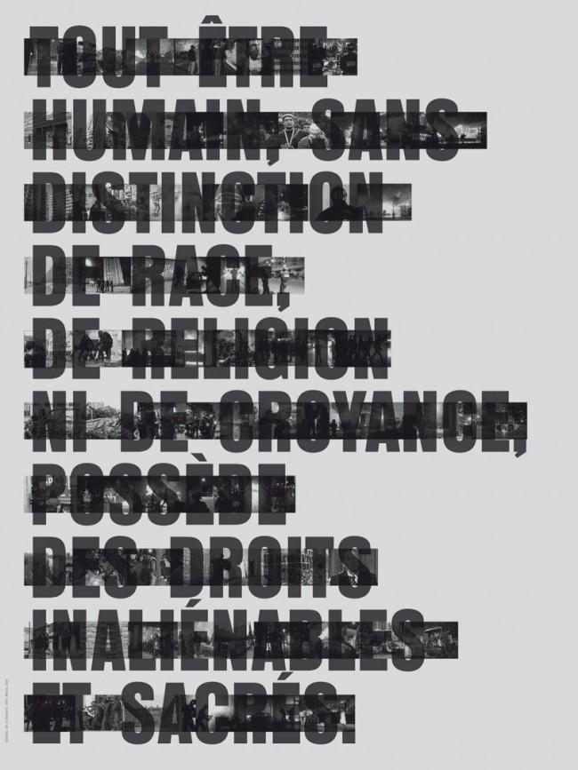 Le Préambule: Typografische Interpretation eines Auszugs der Französischen Verfassung (anlässlich der Aufstände in den Banlieues von Paris)