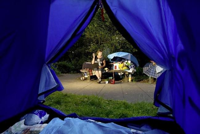 Zelt einer Obdachlosen im Alten Elbpark