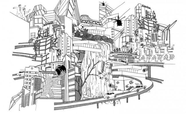 Illustration für ARCH+: Visualisierung möglicher Zukunftsszenarien für Berlin im Jahr 2050 – BERLinc