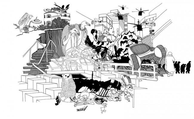 Illustration für ARCH+: Visualisierung möglicher Zukunftsszenarien für Berlin im Jahr 2050 – Berlin Blade Runner