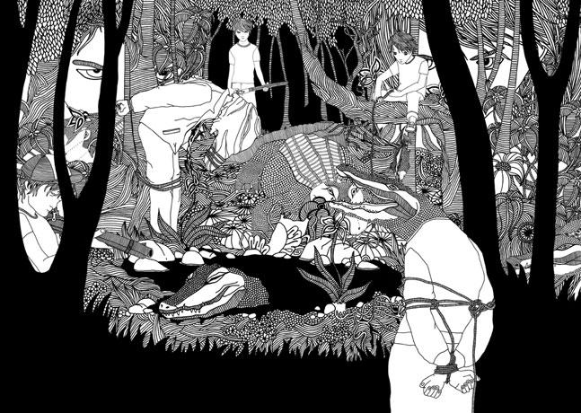 Zeichnung für das Buch »Die Freiheit der Krokodile«, Geschichte: Friedrich von Borries, erschienen im Merve Verlag