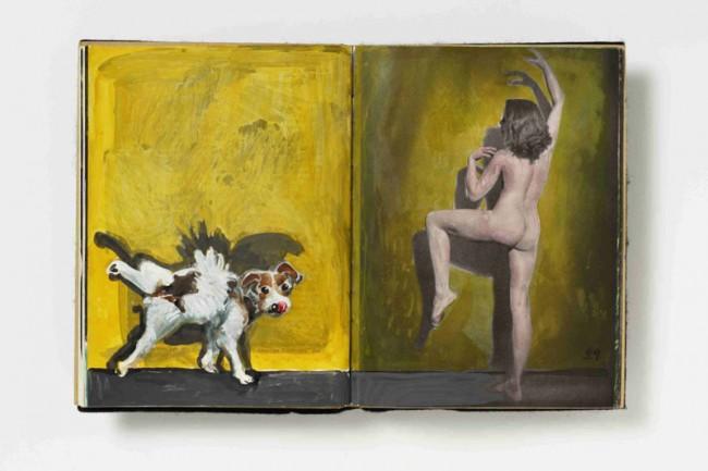 Burgi Kühnemann (*Mayen 1935) akt. Nebst eingeführter Hundemalerei und einem Text in Hundesdeutsch, 2005