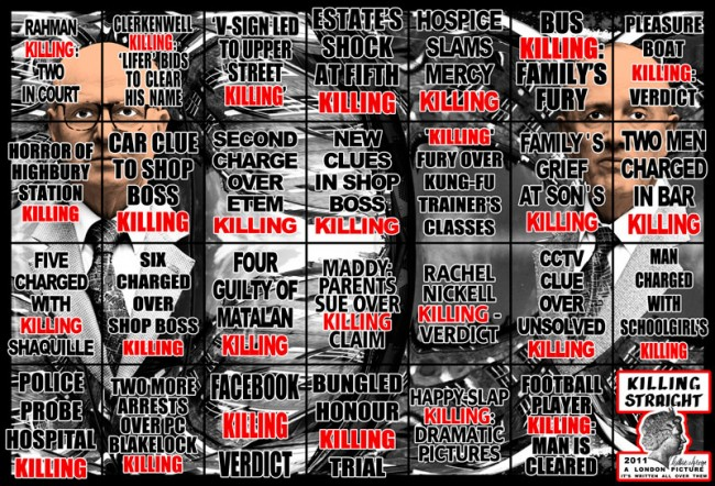 Gilbert & George KILLING-STRAIGHT aus der Serie »A London Picture«, 2011