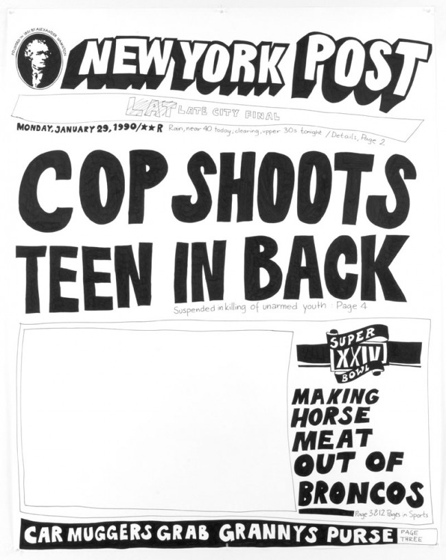 Aleksandra Mir: Cop Shoots Teen in Back, aus der Serie Cops and Teens (21 Werke), 2007, Originally produced as a live event during the exhibition 'NEWSROOM 1986-2000, Mary Boone Gallery, NYC, 2007. Courtesy: The Collection of Charles Saatchi, London.