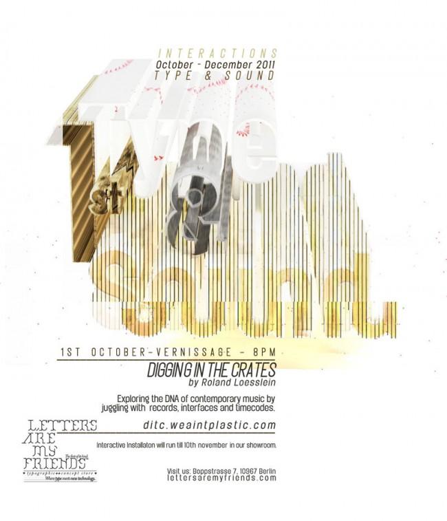 Flyer für den Type & Sound Event Digging in the Crates mit Roland Lößlein (http://ditc.weaintplastic.com/) von Bärbel Bold