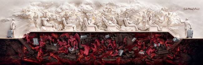 Art Direction for Press Advertising und Outdoor: »Heaven and Hell« von JWT Shanghai für Samsonite