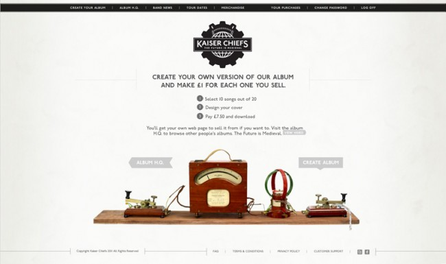 Digital Advertising: »The Kaiser Chiefs Bespoke Album Creation Experience« von Wieden + Kennedy UK für die Kaiser Chiefs
