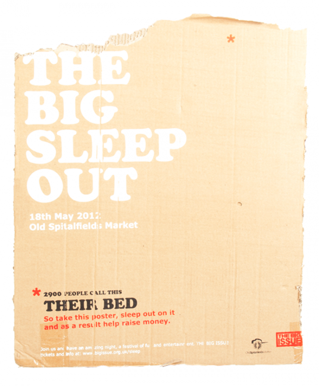 take this poster, sleep out on it and as a result help raise money | The Big Sleep Out (fiktives Projekt)
