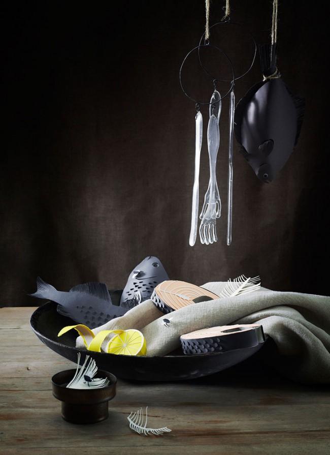 Fiskar | Photograph: Olivia Jeczmyk | Stylist: Joanna Lavén | Papercut artist: Fideli Sundqvist