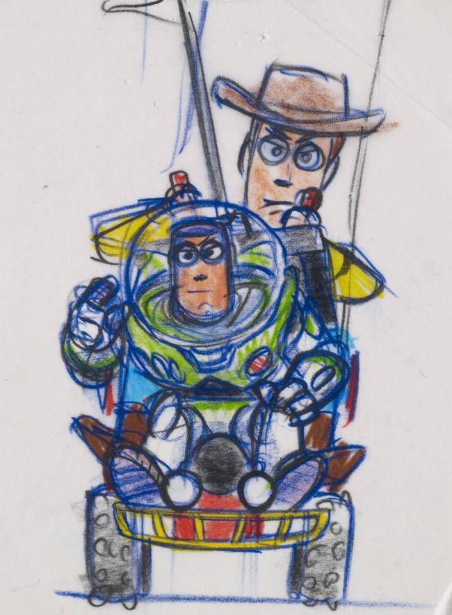 Bob Pauley Woody und Buzz Toy Story, 1995 Filzstift- und Bleistiftreproduktion