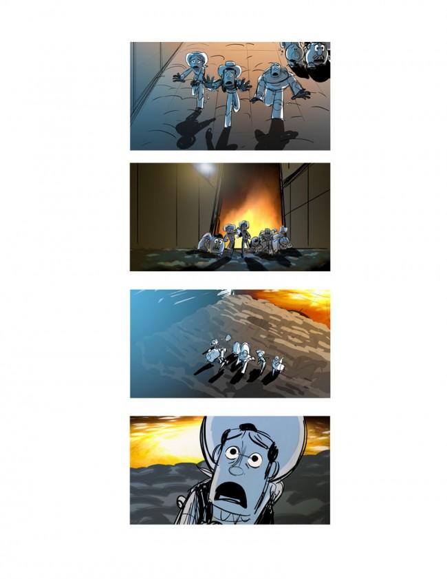 James Robertson, Feuereffekte von Andrew Jimenez Storyboard: Müllverbrennungsanlage Toy Story 3, 2010 Digitalzeichnung
