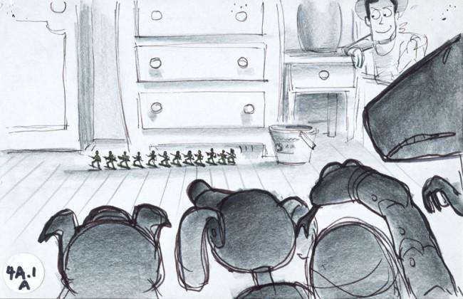Joe Ranft Storyboard: Spielzeugsoldaten Toy Story, 1995 Tinten- und Bleistiftreproduktion