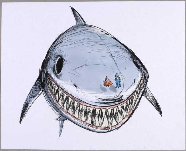 Ricky Nierva Dory, Nemo und Bruce Findet Nemo, 2003 Tinte, Filzstift und Korrekturflüssigkeit auf Fotokopie