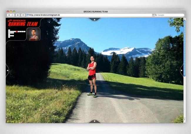 Screenshot der Webseite »Brooks Running Team«