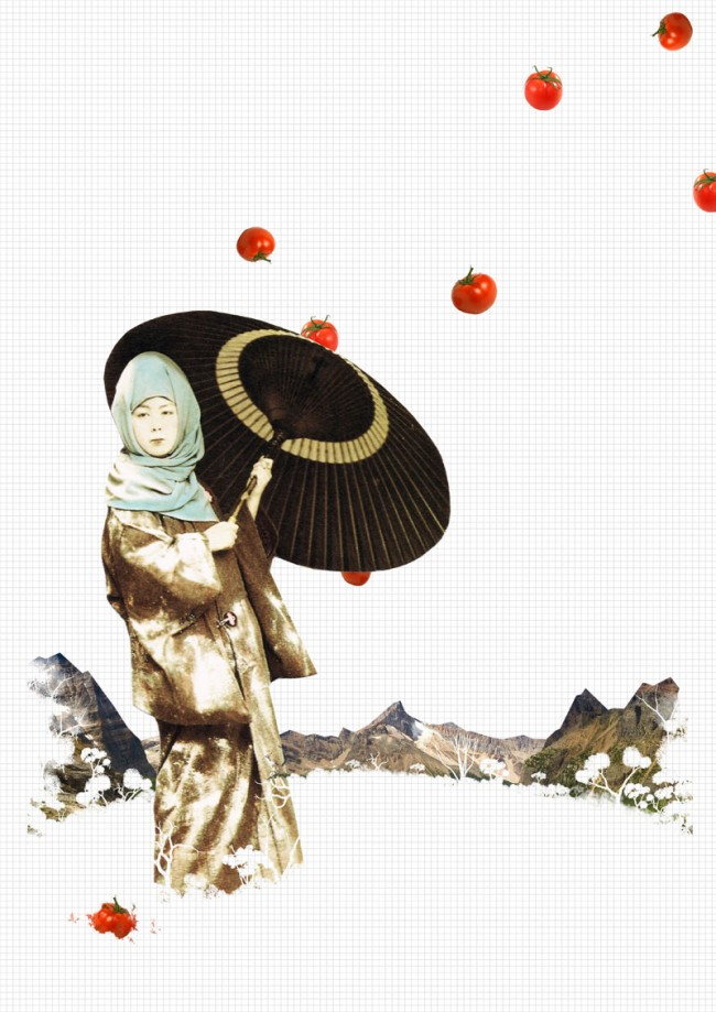 japanese girl with tomatoes/ digital collage