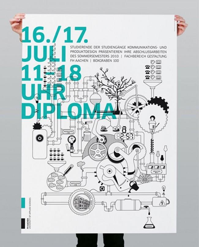 Entwicklung des Plakates zur Diploma 2010, Ausstellung der Absolventen des Fachbereichs Gestaltung an der FH Aachen.