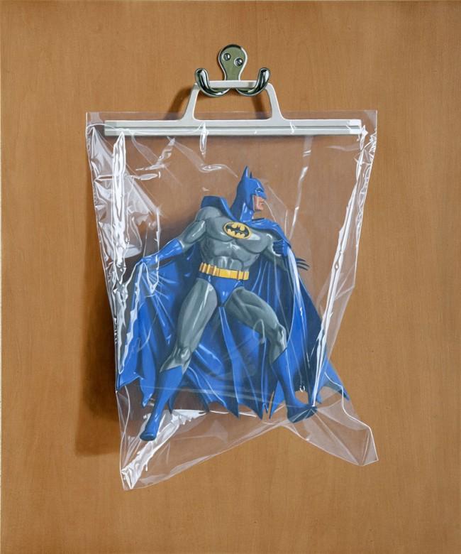 Simon Monk: Bruce Wayne, 2012 Öl & Alkydharz auf Holz, 60x50 cm